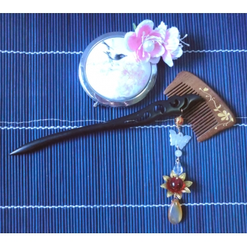 Chinese Carved Phoenix Feather Hairstick with Jade Butterfly