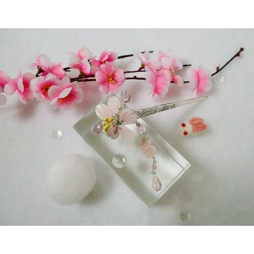 Cute Pink Shell Cherry Blossom and Rabbit Hair stick Hair Pin