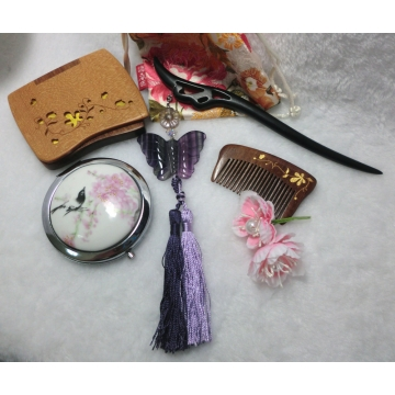 Chinese Purple Fluorite Butterfly with Tassels  Hair stick
