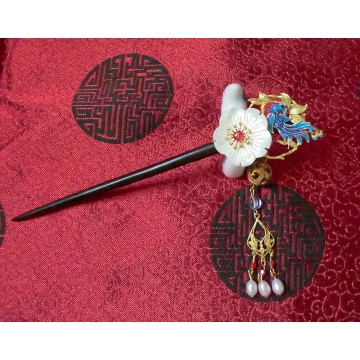 Cloisonne Phoenix with Lavender Freshwater Pearls Chinese Hair Pin Hair Stick