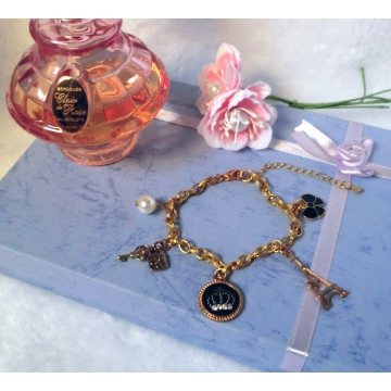 Four Leaf Clover Locket Gold Charm Bracelet