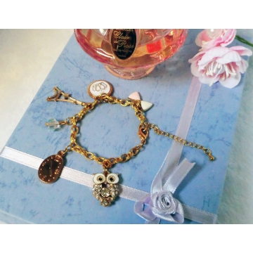 Rhinestone Owl Gold Charm Bracelet