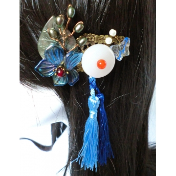 Chinese Bronze White Jade Disc Hair clip Hair Slide Barrette Hair Clasp with Tassels