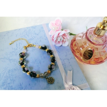 Black rose glass bead bracelet with black rose charm
