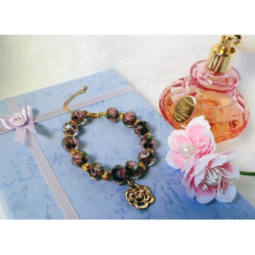 Burgundy rose glass bead bracelet with gold rose charm