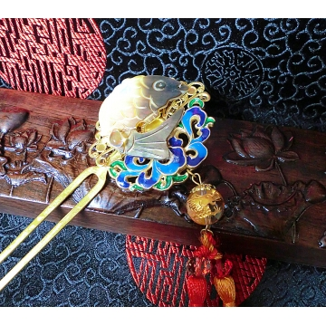Chinese Carved Shell Carp with Cloisonne and White Crystal Bead Engraved with Golden Dragon Hair stick Hair Pin