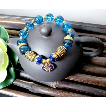 Buddhist Mala Aquamarine Bead Bracelet with Om mani padme hum, Cloisonne Lotus Buds and Longevity Lock