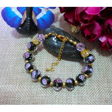 Black rose glass bead bracelet with pink Swarovski crystals and gold rhinestone spacers