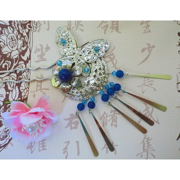 Chinese Blue Butterfly and Flower Hair Stick Hair Pin