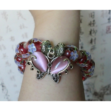 Light red glass bead and pink butterfly bracelet