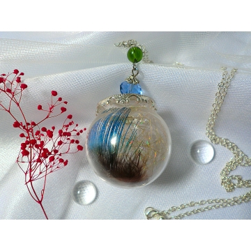 Peacock Feather Glittery Glass Ball Glass Orb Glass Globe Pendant Terrarium Necklace