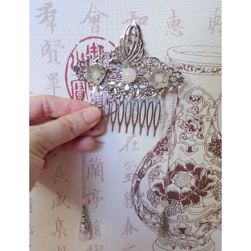 Chinese Silver Comb with Pink Rose Quartz Sale Price
