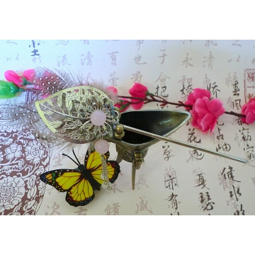 Chinese Rose Quartz Leaf Hairstick Hair Pin with Speckled Feathers Sale Price