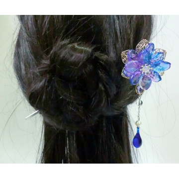 Chinese Purple-Blue Glass Petal Flower Hair Pin Hair Stick