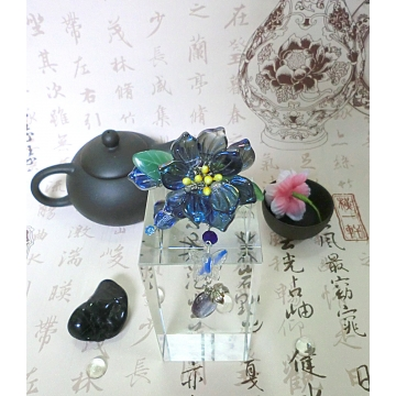 Chinese Blue Czech Glass Flower Petal Hairstick Hair Pin